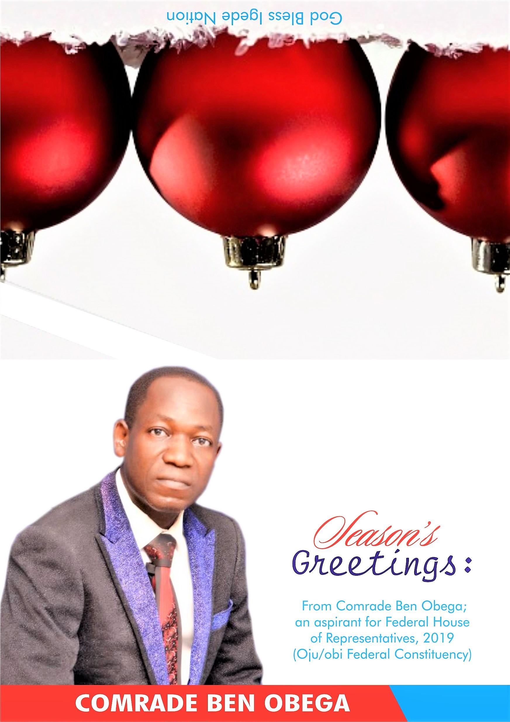 SEASON'S GREETINGS FROM COMR. BEN OBEGA, 2019 HOR HOPEFUL